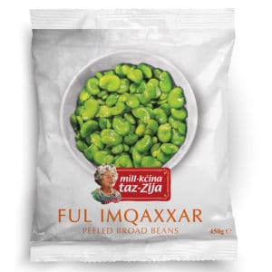 Mill-kcina taz-Zija Broad Beans No need to waste any more time peeling your broad beans. Mill-kċina taz-Zija Peeled Broad Beans are freshly peeled and ready to use. Thaw and serve them or cook and add to stews, salads, bruschetta, or side dishes.  Available in 450g and 900g packs.